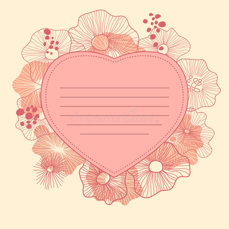 Floral heart. Romantic greeting card vector illustration