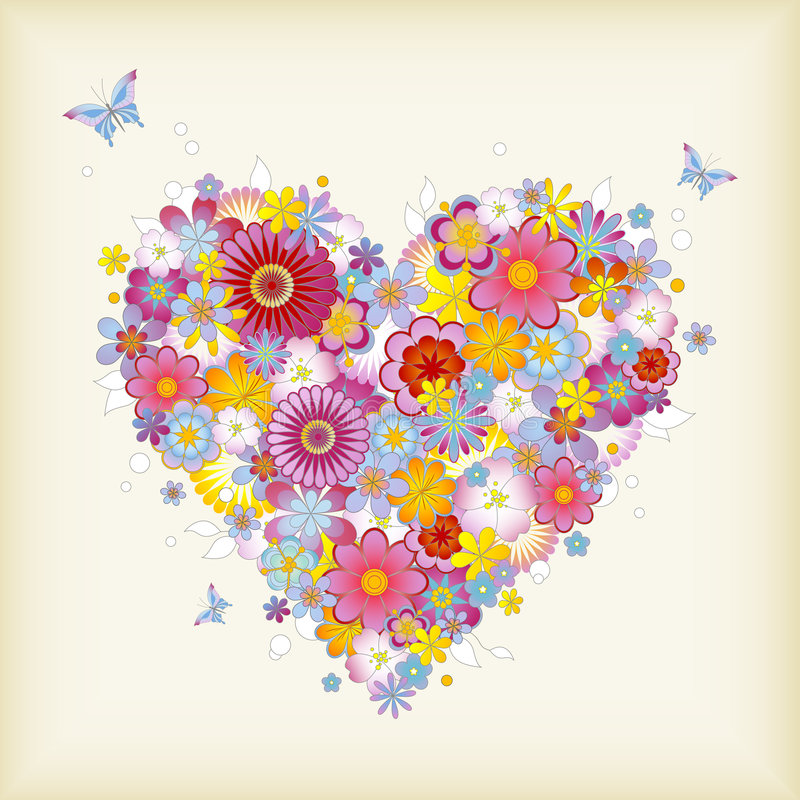Download Floral heart stock vector. Illustration of multicolored - 7393970