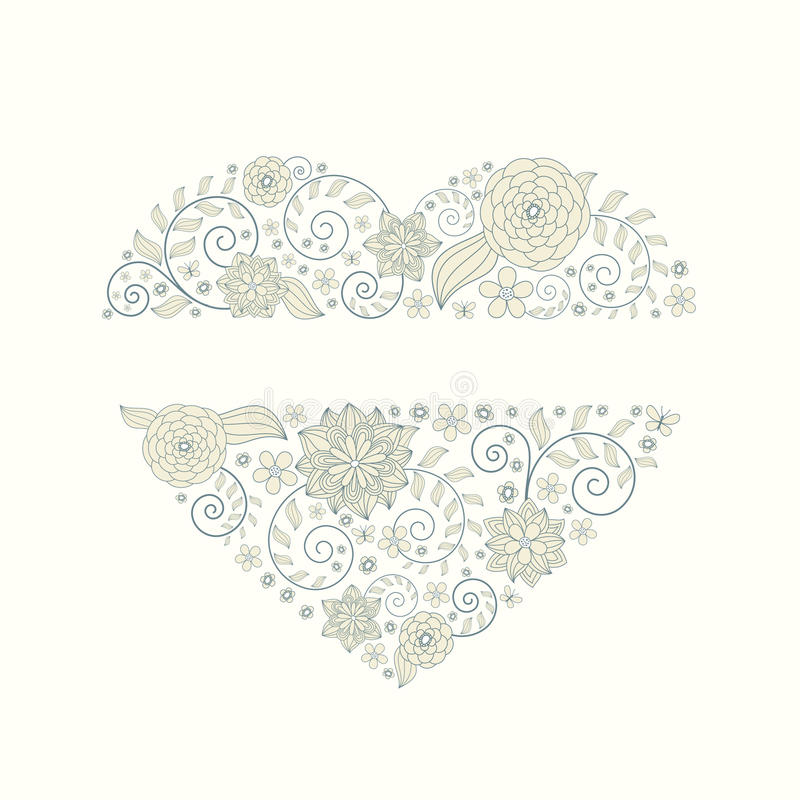 Floral heart background royalty free illustration