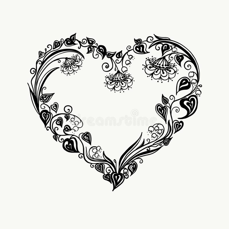 Floral heart. Bouquet composition with hand drawn flowers and plants. Monochrome vector romantic love illustration in royalty free stock image