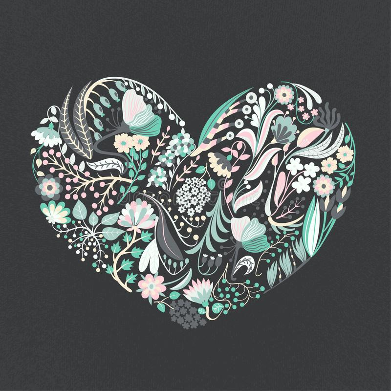 Floral heart. Hand drawn creative flowers. Romance. Colorful artistic background with blossom. Abstract herb stock illustration