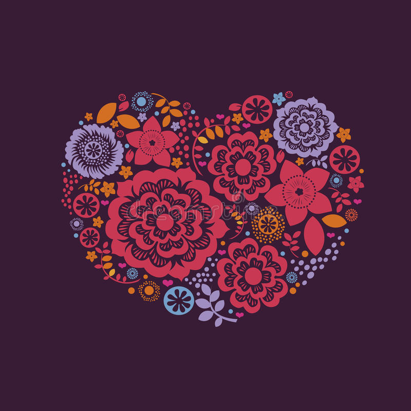 Ornamental floral heart with many quality details