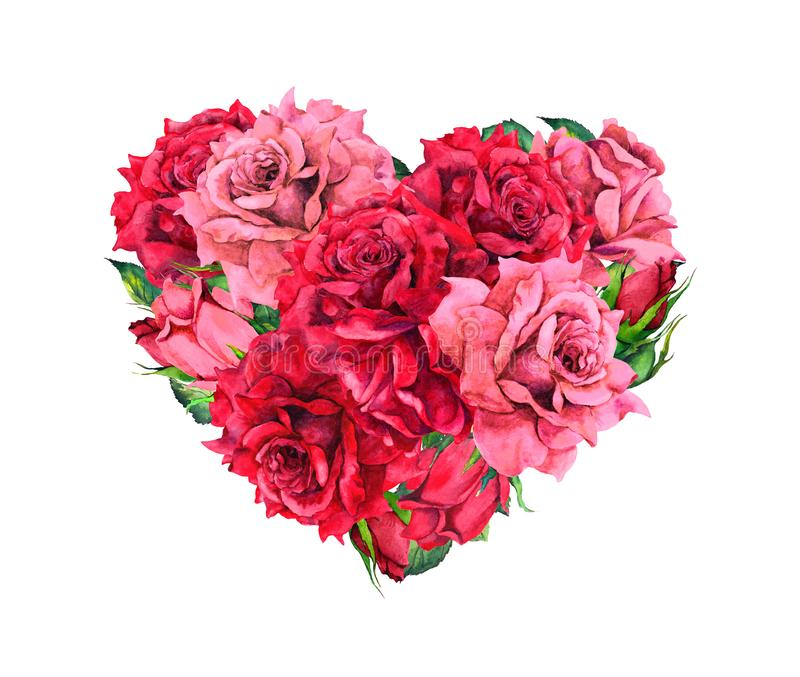 Floral heart with red rose flowers. Watercolor for Valentine day. Wedding royalty free stock photography