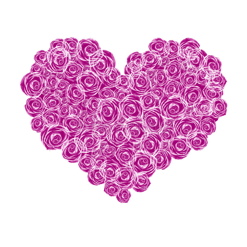 Floral heart shape. Isolated on white royalty free stock images
