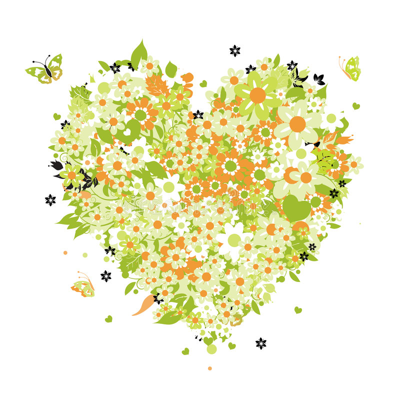 Floral heart shape stock image