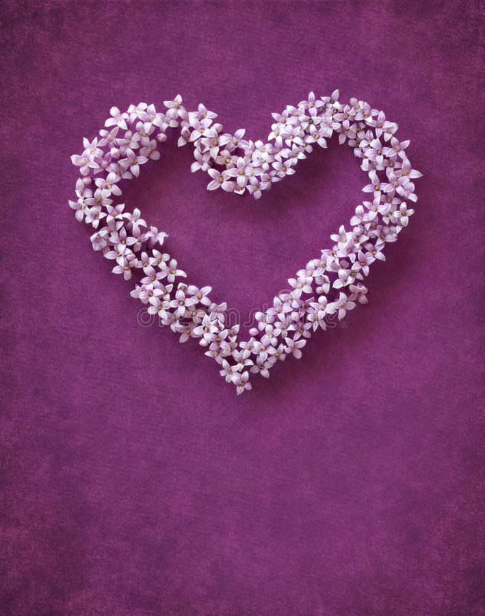 Floral heart shape. On lilac background stock photos