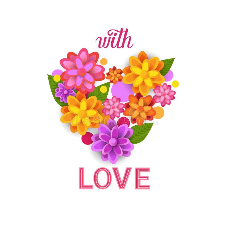 Floral Heart Shape Spring Greeting Card With Colorful Flowers On White Background vector illustration