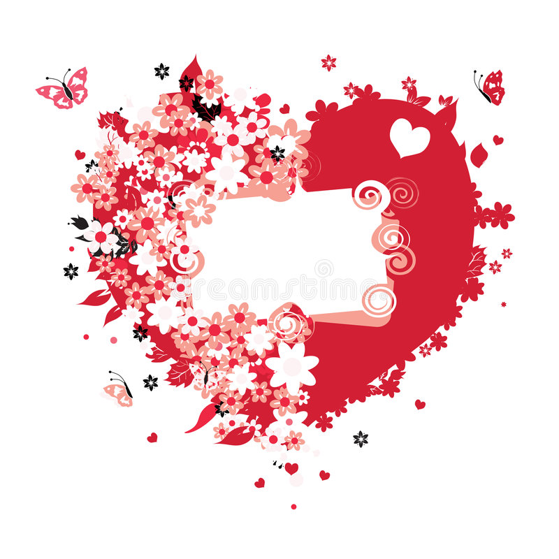 Floral heart shape for your design stock images
