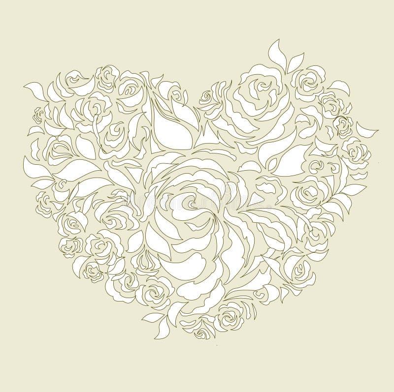 floral heart wedding card stock illustration