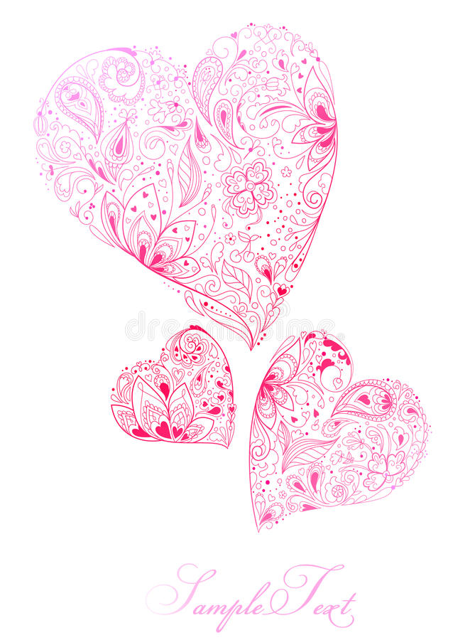 Floral hearts stock illustration