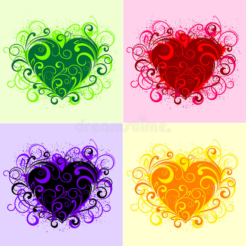 Floral hearts royalty free stock photos