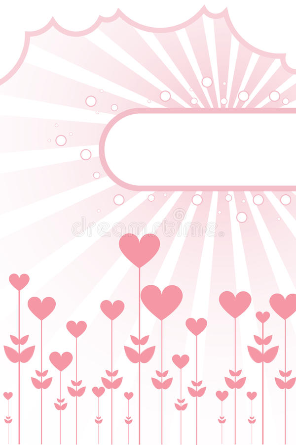 Floral hearts background with frame