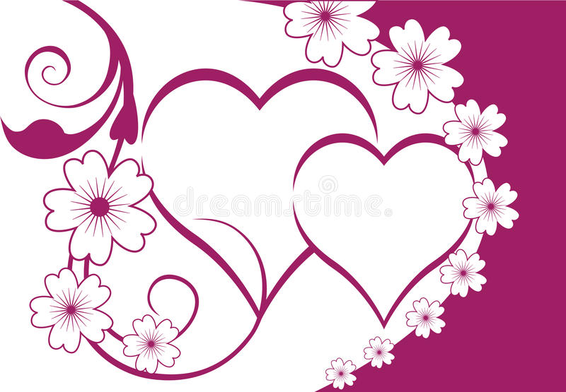 Floral hearts background. Floral hearts frame background design. An additional Vector .Eps file available. (you can use elements separately stock illustration