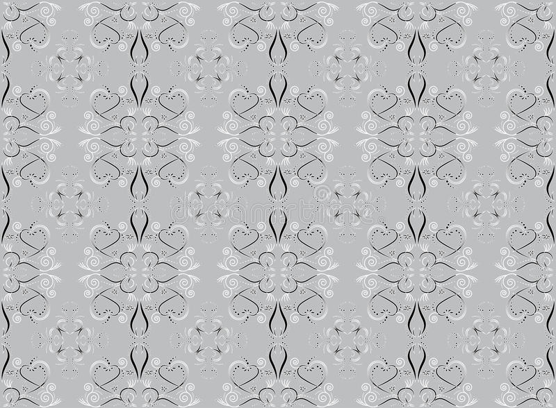 Floral and hearts seamless pattern. Editable color background royalty free illustration