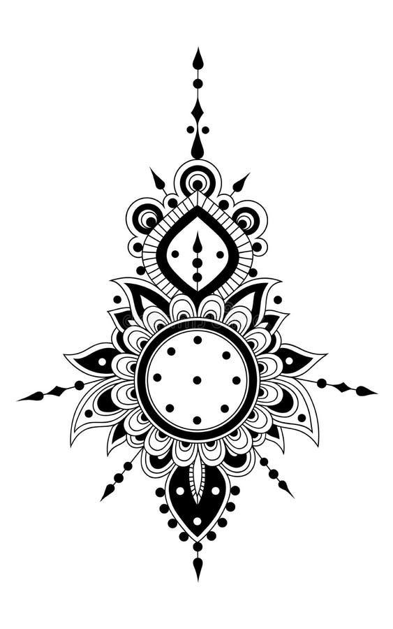 Floral hendi ornament Black and white mandala royalty free illustration