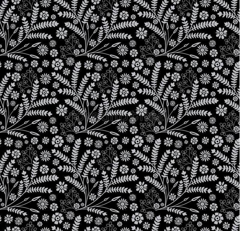 Floral and herbal beautiful seamless pattern on black background. royalty free stock photo