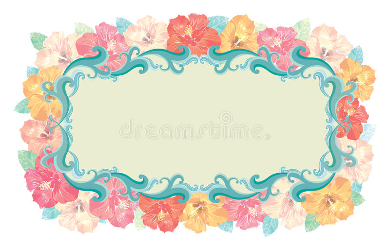 Floral - Hibiscus frame vector illustration