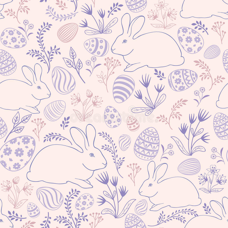 Floral holiday pattern. Easter bunny, eggs seamless background. vector illustration