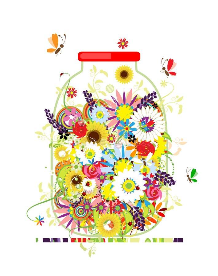 Download Floral Honey. Jar With Summer Flowers Stock Vector - Illustration: 25164153