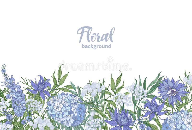 Floral horizontal backdrop decorated with spring blooming garden flowers growing at bottom edge on white background vector illustration