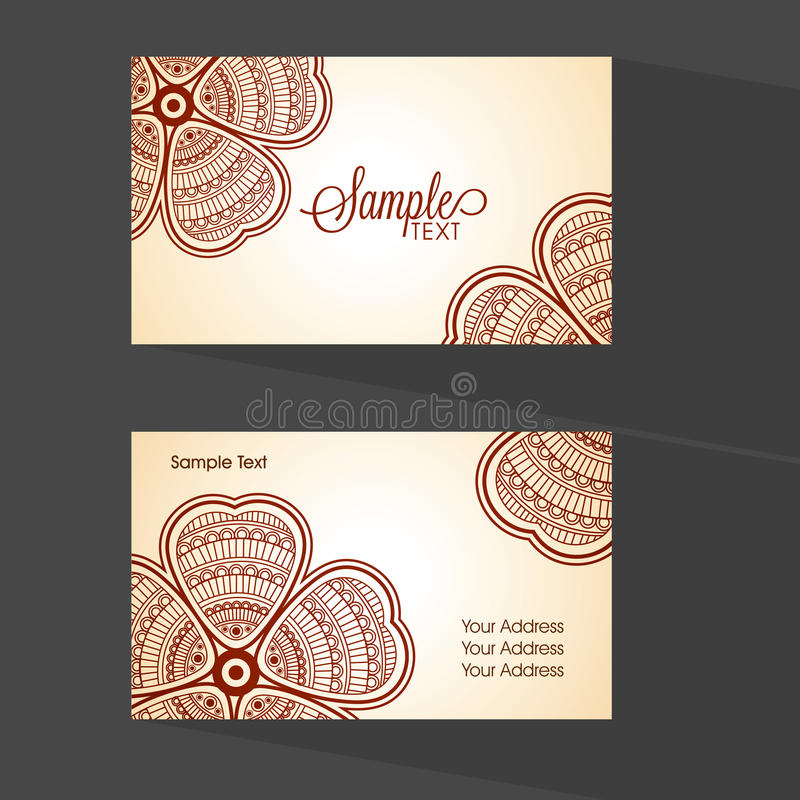 Floral Horizontal Business Card Or Visiting Card. Stock Image ...
