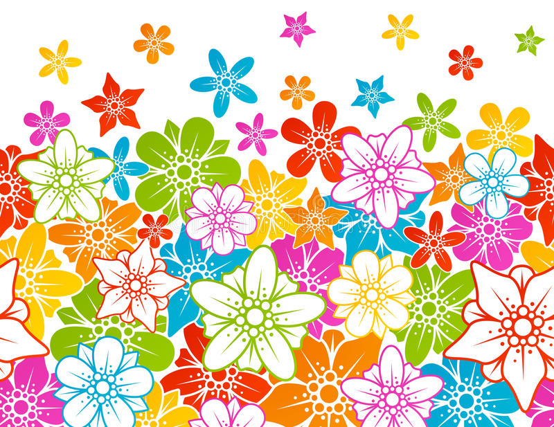Floral Horizontal Seamless Background Royalty Free Stock Images