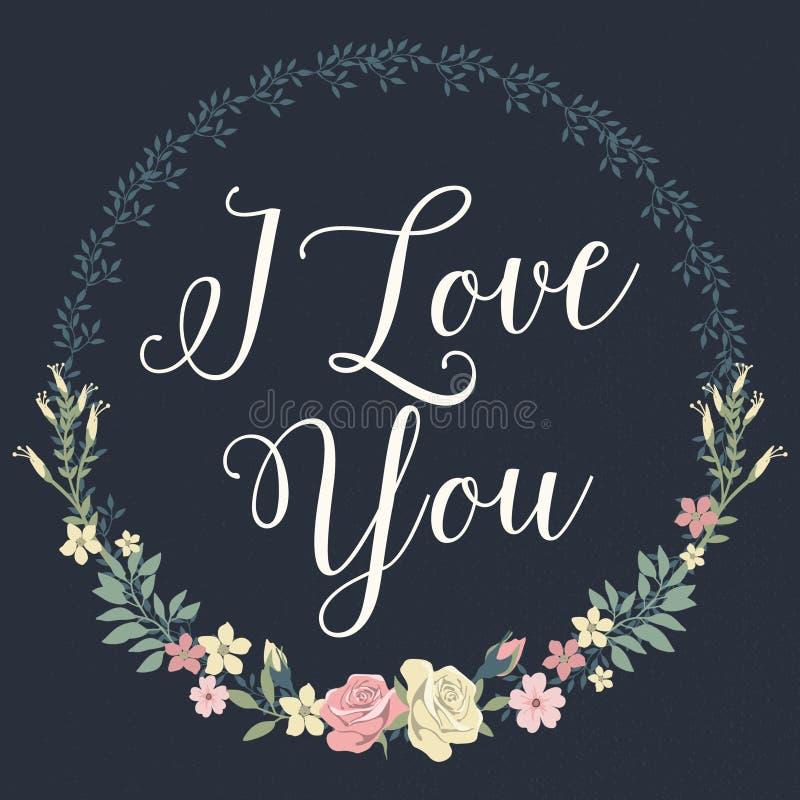 Floral I Love You stock illustration