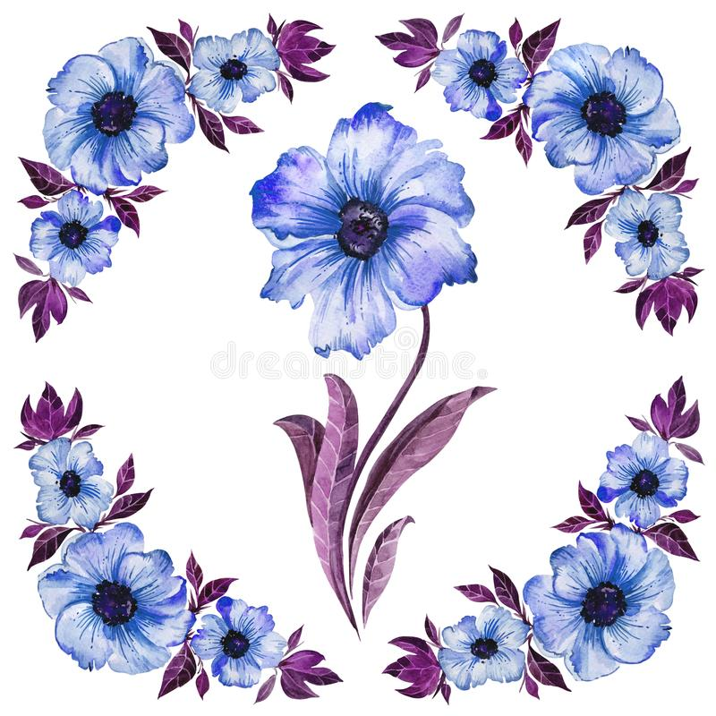 Floral illustration. Beautiful blue flowers with purple leaves. Round pattern on white background. Watercolor painting. Isolated. stock illustration