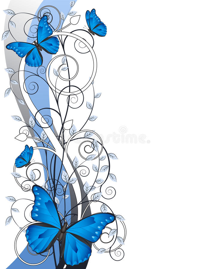 Download Floral Illustration With Butterflies Stock Vector - Image: 25618567