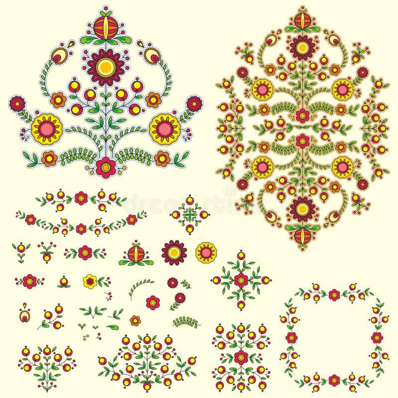 Floral illustration set vector illustration