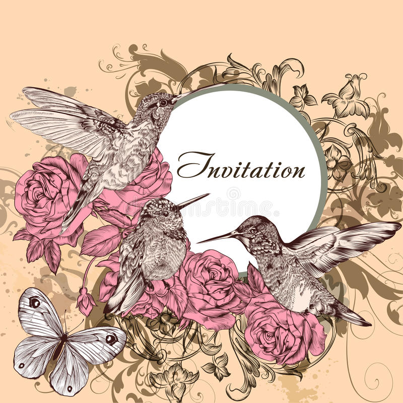 Download Floral  Invitation Card With Humming Birds Stock Vector - Illustration of birds, filigree: 39506583