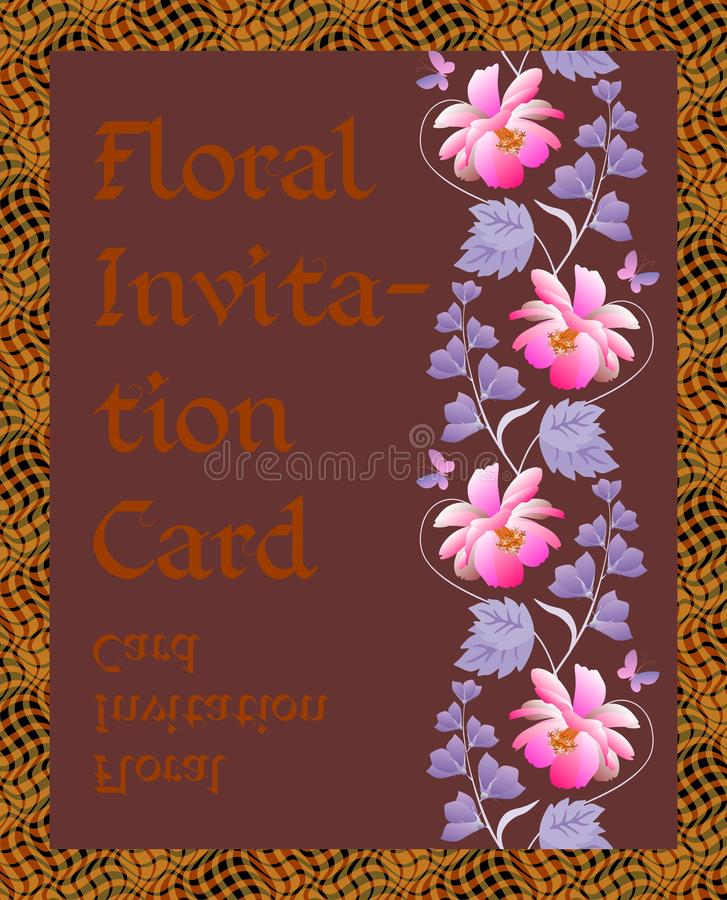 Floral invitation card with vertical wreath of cosmos, bell flowers and leaves on dark brown background. Vector spring design royalty free illustration