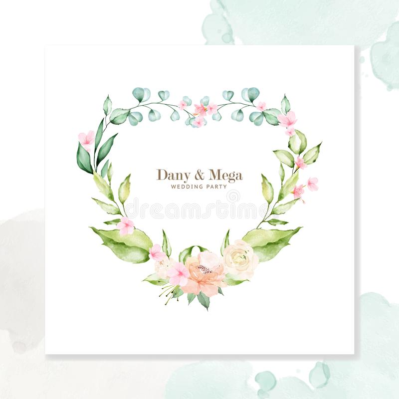 Floral and leaves wedding invitation card watercolor style stock photo