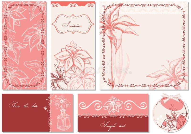 Floral invitations vector illustration