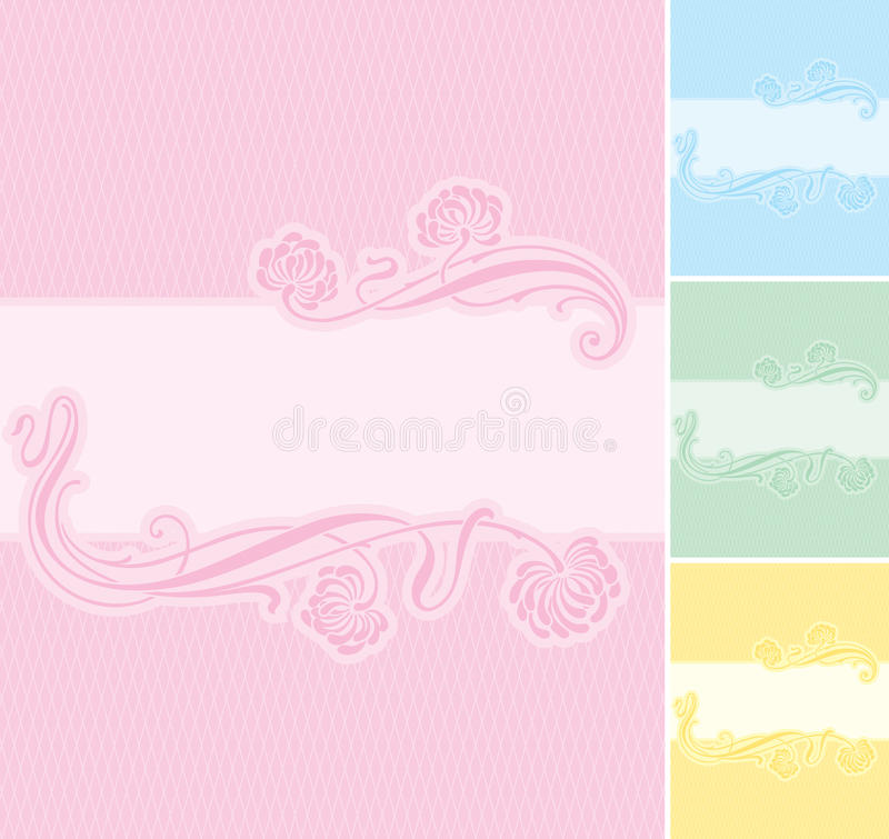 Floral label background (vector) royalty free illustration