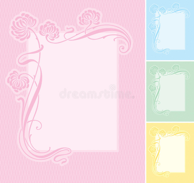 Floral label background (vector) stock illustration