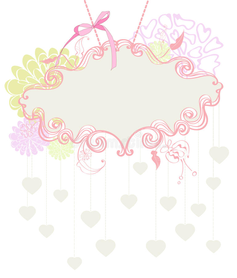 Floral Label For Valentine Holiday Royalty Free Stock Photography