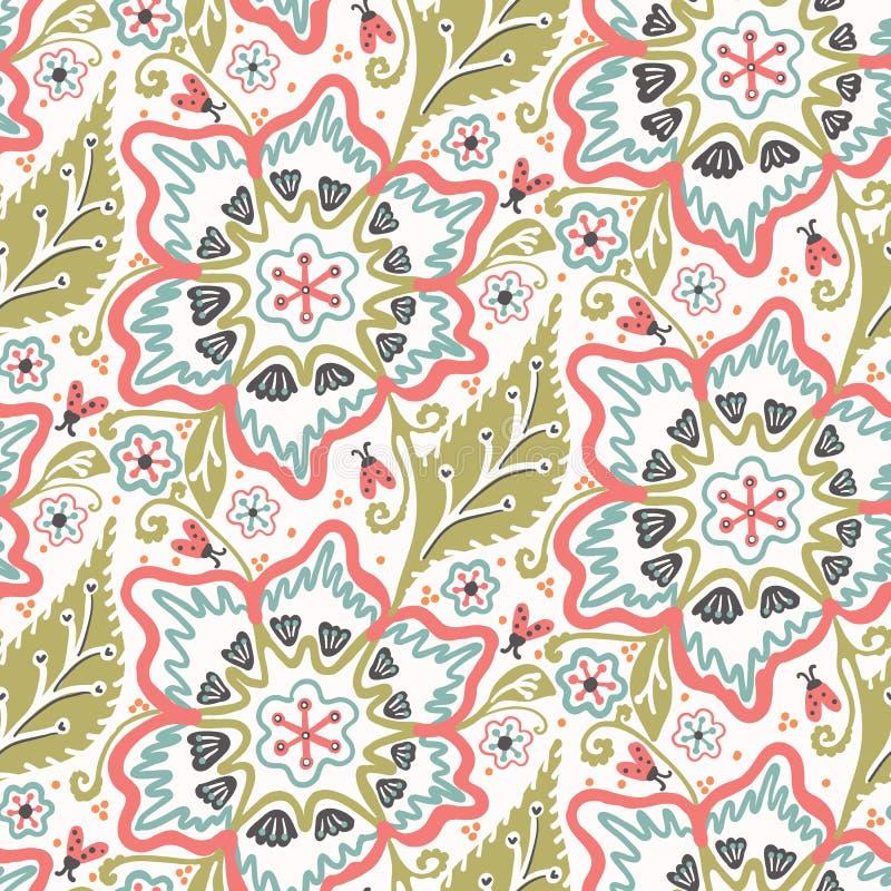 Free Floral Leaf Flower Motif Scandi Seamless Pattern. Folk Art Nature Foliage Textile. Modern Ornate Victorian Leaves Style Home Decor Stock Photos - 158946513