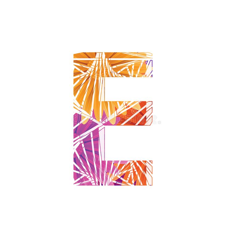 Floral Letter E design template. Mother`s Das flower logo type design concept of Abstract alphabet logo. Floral Letter E conceptual design template for seasonal stock illustration