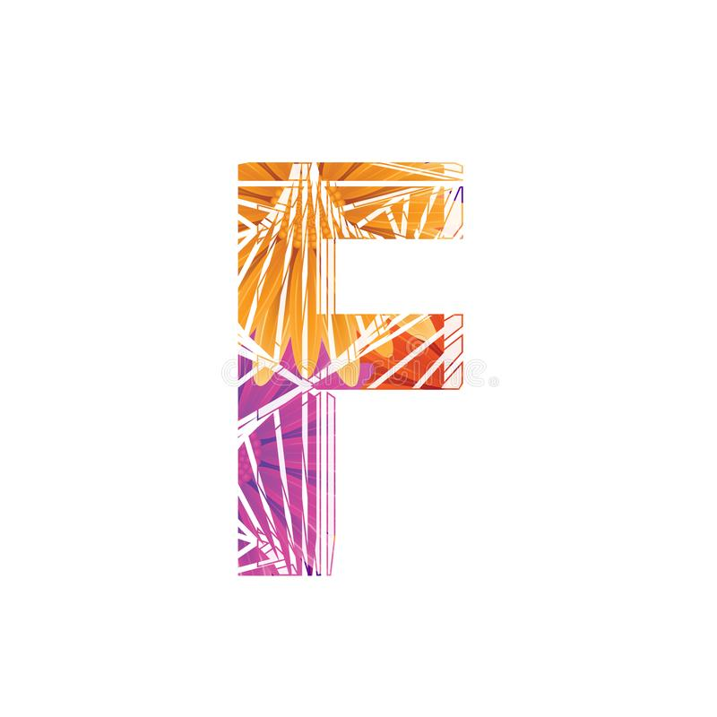 Floral Letter F design template. Mother`s Das flower logo type design concept of Abstract alphabet logo. Floral Letter F conceptual design template for seasonal stock illustration