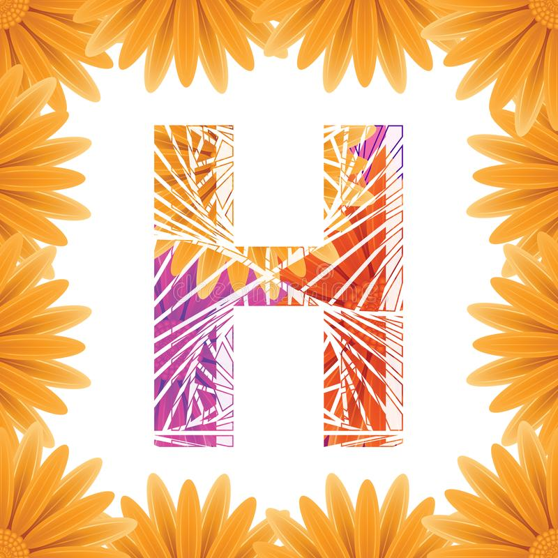 Floral Letter H design template. Mother's Das flower logo type design concept of Abstract alphabet logo royalty free stock photos