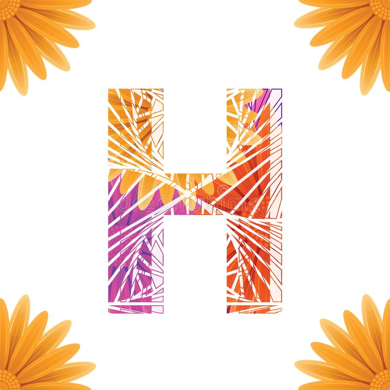 Floral Letter H design template. Mother's Das flower logo type design concept of Abstract alphabet logo. Floral Letter H conceptual design template for vector illustration