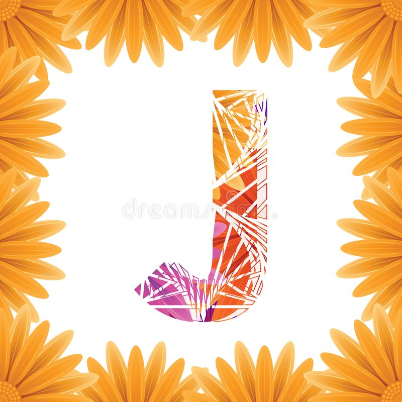 Floral Letter J design template. Mother's Das flower logo type design concept of Abstract alphabet logo stock image