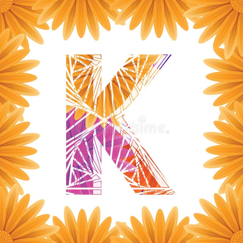 Floral Letter K design template. Mother's Das flower logo type design concept of Abstract alphabet logo royalty free stock image