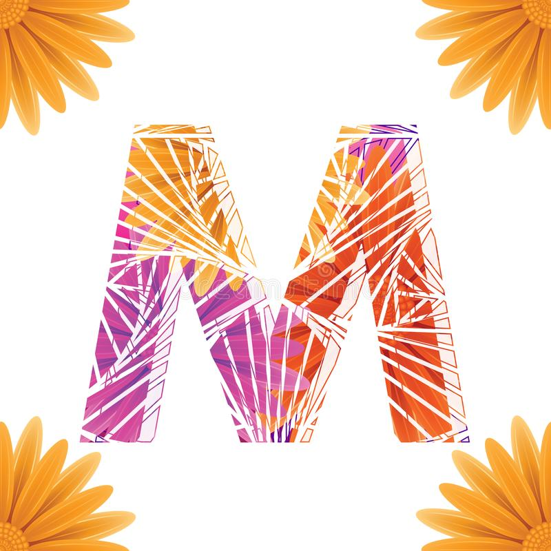 Floral Letter M design template. Mother& x27;s Das flower logo type design concept of Abstract alphabet logo. Floral Letter M conceptual design template for vector illustration