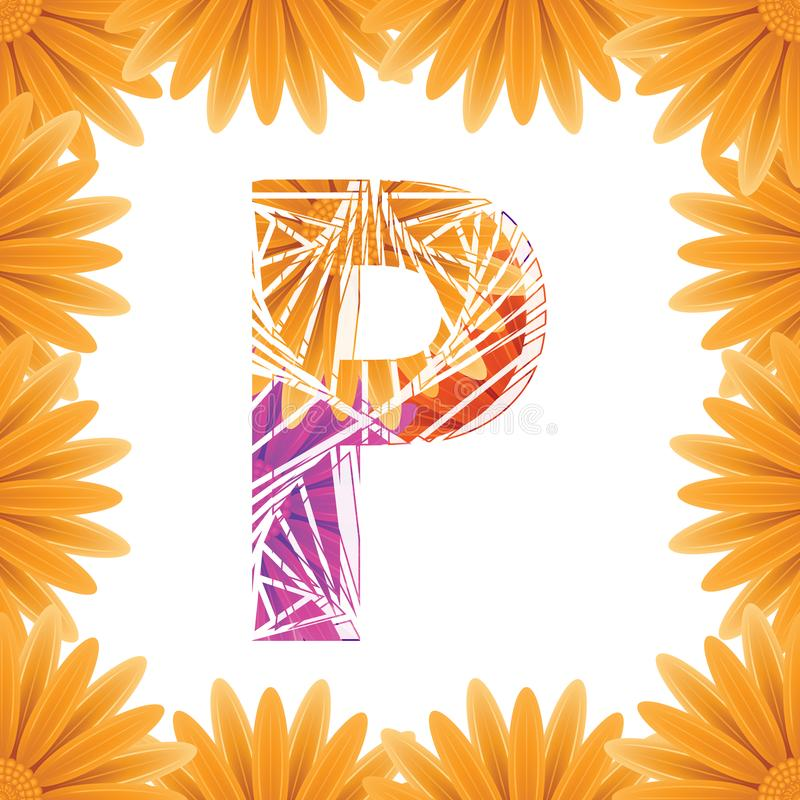 Floral Letter P design template. Mother's Das flower logo type design concept of Abstract alphabet logo royalty free stock images