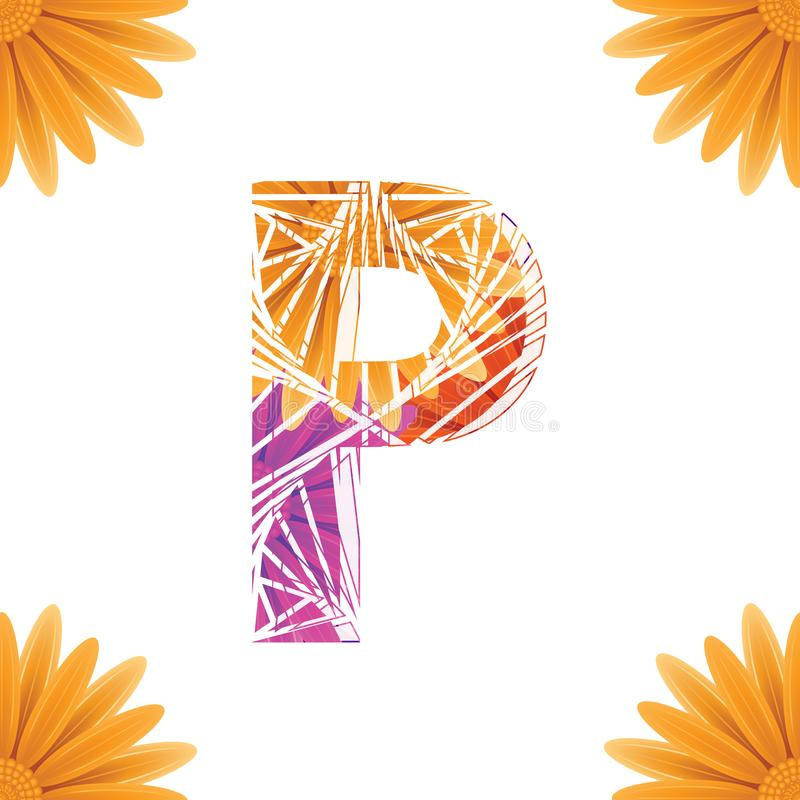 Floral Letter P design template. Mother's Das flower logo type design concept of Abstract alphabet logo. Floral Letter P conceptual design template for royalty free illustration