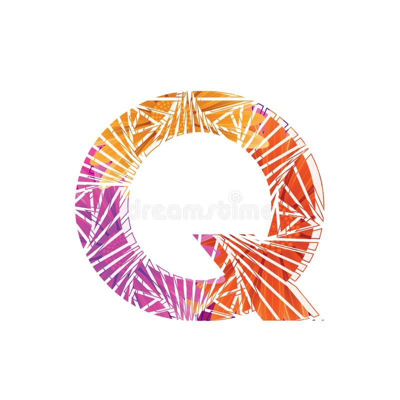 Floral Letter Q design template. Mother`s Das flower logo type design concept of Abstract alphabet logo. Floral Letter Q conceptual design template for seasonal stock illustration