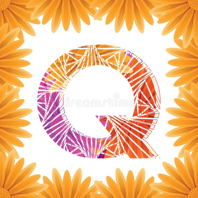 Floral Letter Q design template. Mother's Das flower logo type design concept of Abstract alphabet logo royalty free stock images