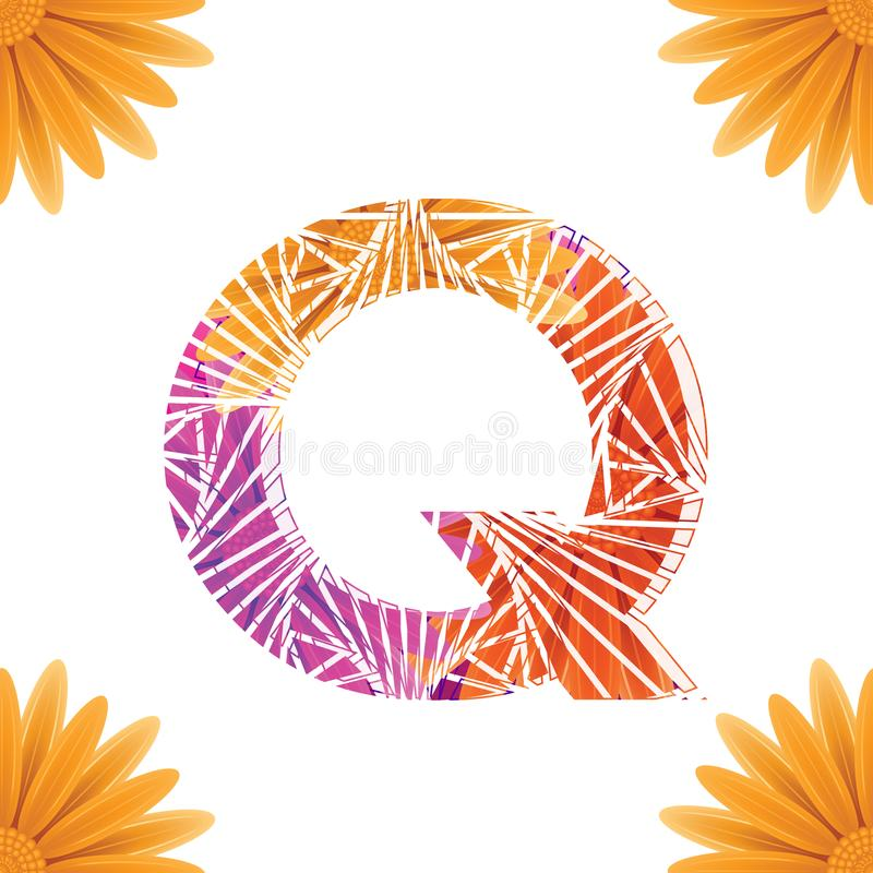 Floral Letter Q design template. Mother's Das flower logo type design concept of Abstract alphabet logo. Floral Letter Q conceptual design template for vector illustration